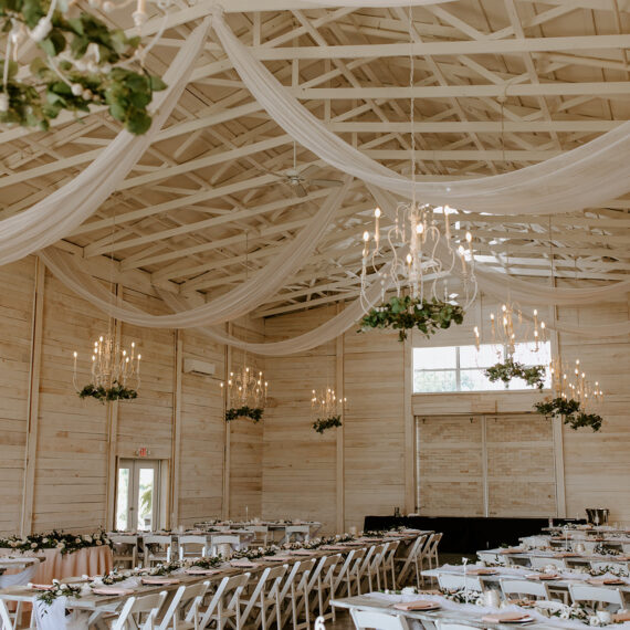 Airy event space with white draping